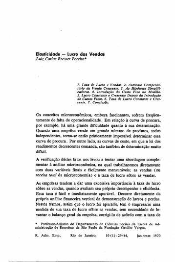 Elasticidade - Lucro das Vendas Luiz Carlos Bresser Pereiras Os ...