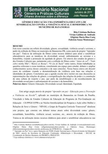 GÊNERO E EDUCAÇÃO.rtf - Itaporanga.net