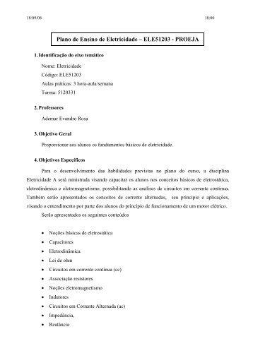Plano de Ensino de Eletricidade – ELE51203 ... - IF-SC São José
