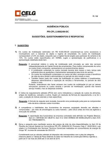 SUGESTÕES - QUESTIONAMENTOS - RESPOSTAS - Celg D