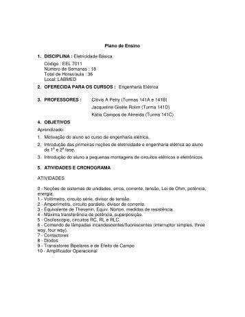 Plano de Ensino 1. DISCIPLINA : Eletricidade Básica ... - labspot