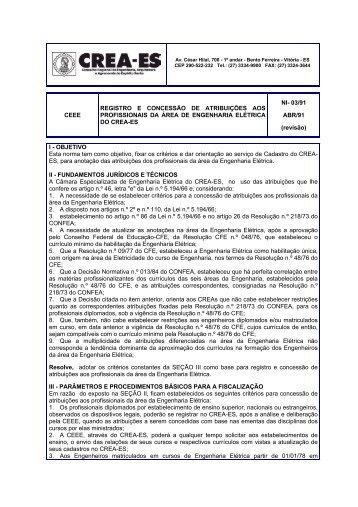CEEE REGISTRO E CONCESSÃO DE ATRIBUIÇÕES ... - Crea-ES