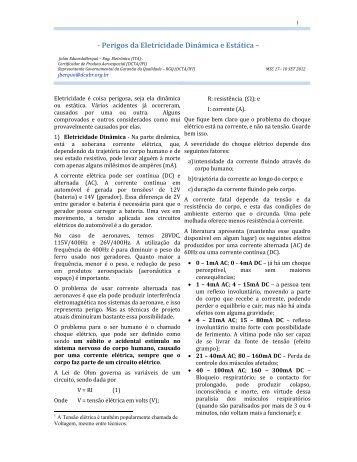- Perigos da Eletricidade Dinâmica e Estática – - DCA-BR