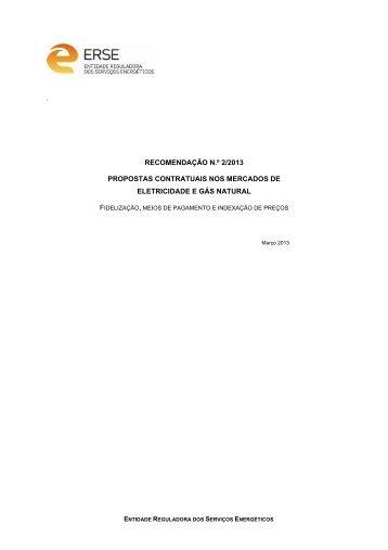 recomendação n.º 2/2013 propostas contratuais nos ... - Erse