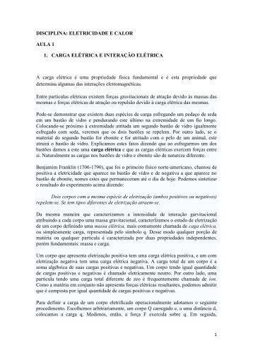 DISCIPLINA: ELETRICIDADE E CALOR AULA 1 1 ... - wcorpsa