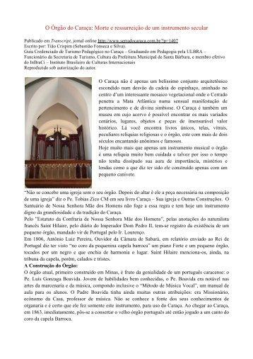 O Órgão do Caraça - Instituto de Cultura e Arte Organística