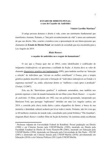 1 ESTADO DE DIREITO PENAL: o caso do Caçador de Andróides ...