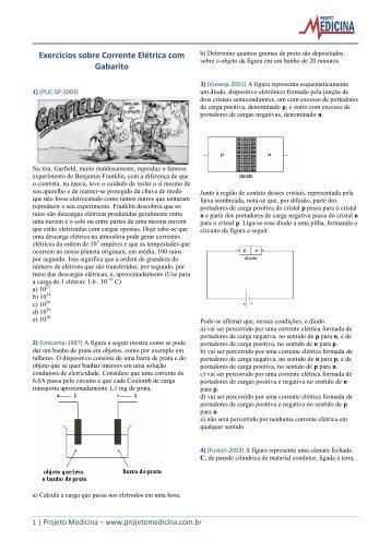 Exercícios sobre Corrente Elétrica com Gabarito - Projeto Medicina