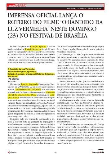 Imprensa Oficial lança o roteiro do filme - Coleção Aplauso ...