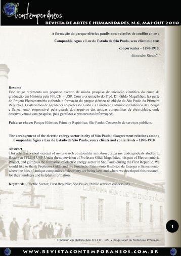 A formação do parque elétrico paulistano - Revista Contemporâneos