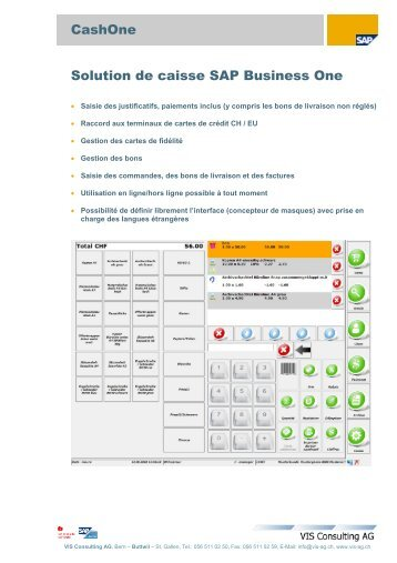 CashOne Solution de caisse SAP Business One - VIS Consulting AG