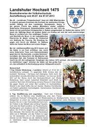 Landshuter Hochzeit 1475 - Volkshochschule Aschaffenburg
