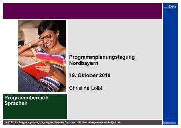 Präsentation Sprachen auf der PPT in Bamberg am 19. Oktober 2010