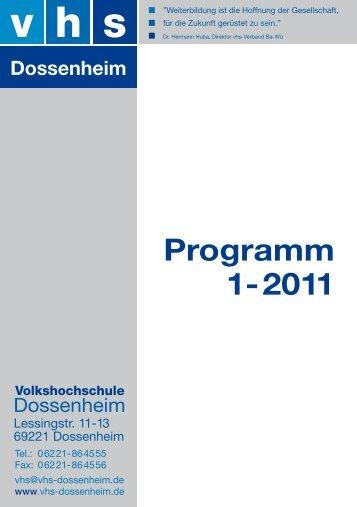 Programm 1-2011 - vhs Dossenheim