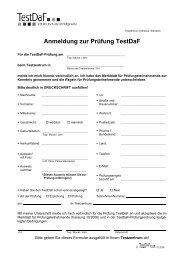 Anmeldung zur Prüfung TestDaF
