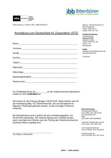 Anmeldeformular DTZ - Volkshochschule Ibbenbüren