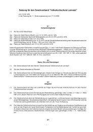 Satzung für den Zweckverband