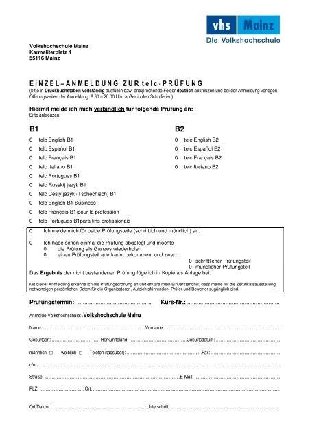Einzelanmeldung Zertifikate B1 B2 Telc Ohne Daf Online Vhs Mainz