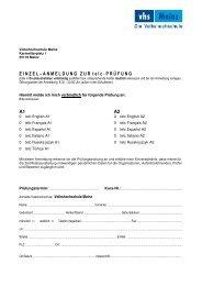 Einzelanmeldung Zertifikate A1 A2 telc ohne DaF - online - vhs Mainz
