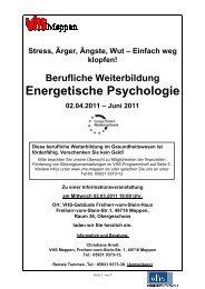 Energetische Psychologie 1-2011 - Volkshochschule Meppen