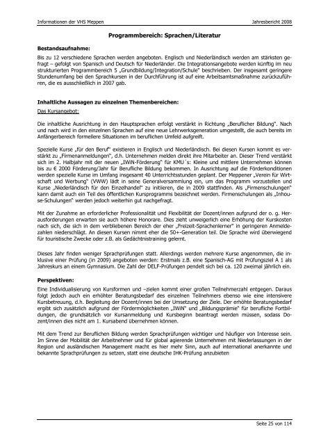 Jahresbericht 2008 - Volkshochschule Meppen