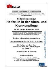 Infomaterial_Lehrgang Krankenpflege - Volkshochschule Meppen