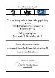 Fremdsprachenkorrespondent 2010-2012 - Volkshochschule Meppen