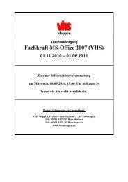 Fachkraft MS-Office 2007 (VHS) - Volkshochschule Meppen