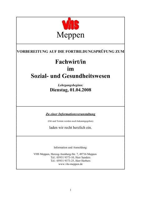 Dienstag, 01.04.2008 - Volkshochschule Meppen