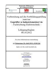 Fachrichtung Elektrotechnik - Volkshochschule Meppen