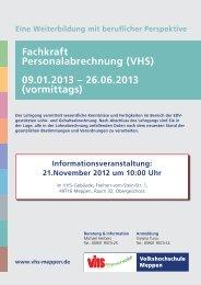 Fachkraft Personalabrechnung (VHS) 09.01.2013 – 26.06.2013 ...