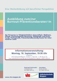 Burnout-Präventionsberater - Volkshochschule Meppen