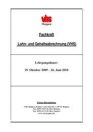Meppen Fachkraft Lohn- und Gehaltsabrechnung (VHS)