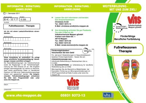 Fußreflexzonen-Therapie - Volkshochschule Meppen