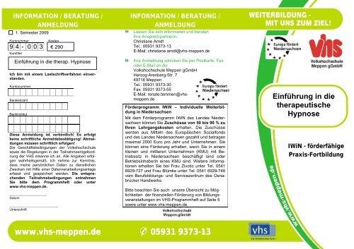 Einführung in die therapeutische Hypnose - Volkshochschule Meppen