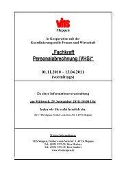 """""""Fachkraft Personalabrechnung (VHS)"""" 01.11.2010 – 13.04.2011"""