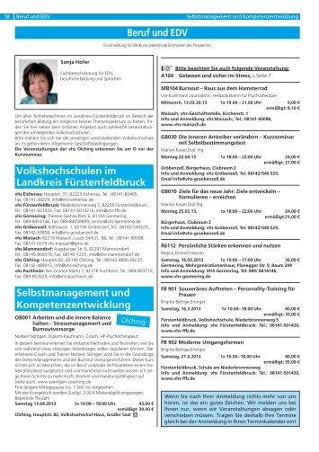 Beruf und EDV - vhs Olching