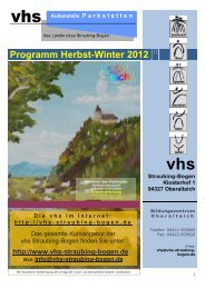 Programm Herbst-Winter 2012 - Vhs Straubing-bogen
