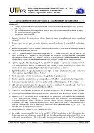 Sistemas de Potência 2 - segunda lista. - DAELT - UTFPR