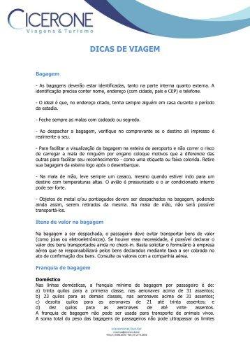 DICAS DE VIAGEM - CICERONE   Viagens e Turismo