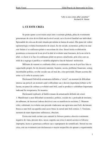 1. CE ESTE CRIZA - Dr. Radu Vrasti