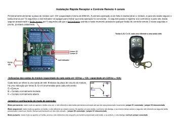 Instalação Rápida Receptor e Controle Remoto 4 canais