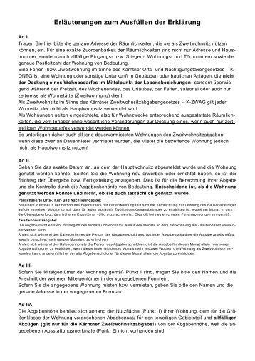Erläuterungen zum Ausfüllen der Erklärung - Villach