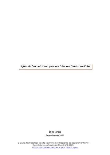 Lições do Caso Africano para um Estado e Direito em Crise