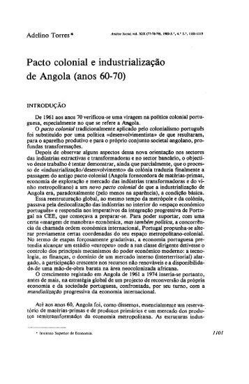 Pacto colonial e industrialização de Angola (anos ... - Análise Social