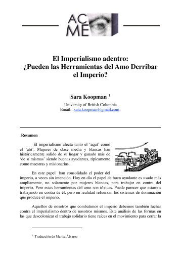El Imperialismo adentro: ¿Pueden las Herramientas del Amo ...