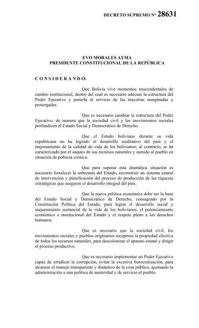 Reglamentación A La Ley De Organización Del Poder Ejecutivo