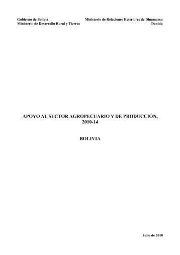 apoyo al sector agropecuario y de producción, 2010-14 bolivia
