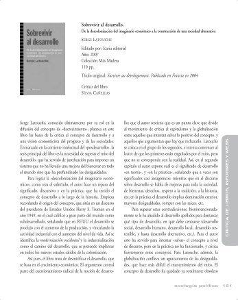 Sobrevivir al desarrollo. - Ecología Política