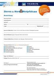 Bewerbung 2013 - Volksbank Kaiserslautern-Nordwestpfalz eG